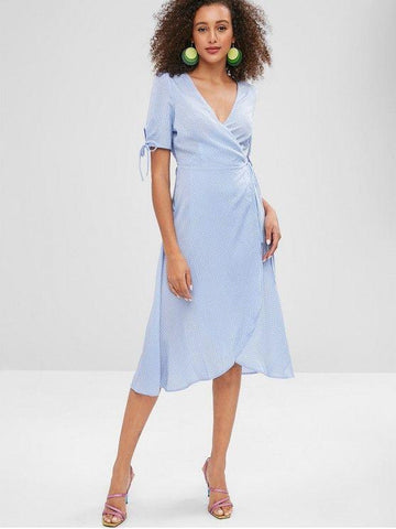 Plunge Midi Polka Dot Wrap Dress