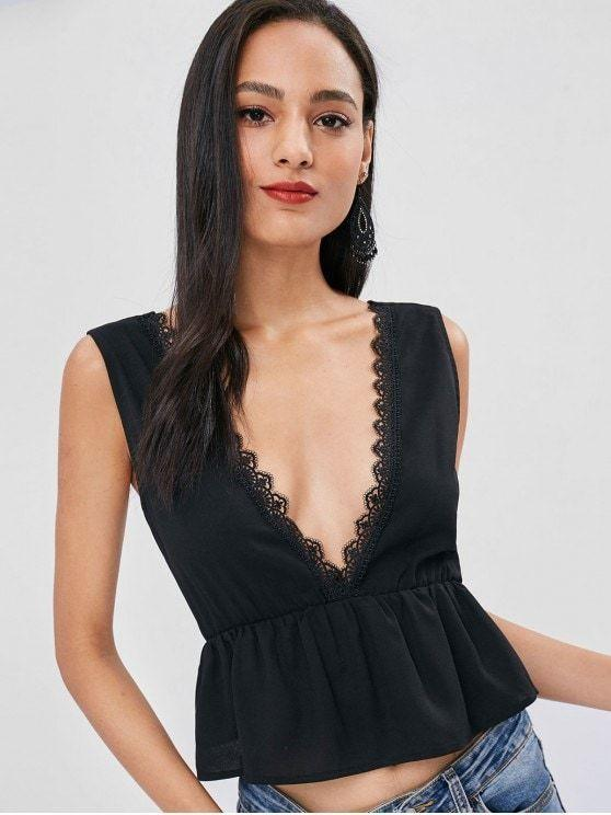 Sexy Plunging Neck Lacework Tank Top