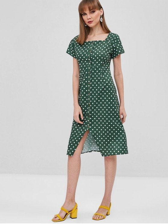 Polka Dot Button Up Asymmetrical Dress