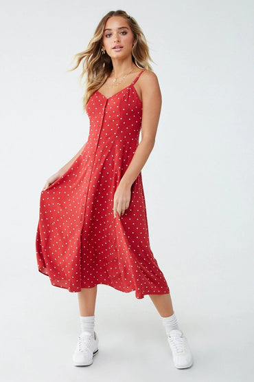 Polka Dot Crisscross Cami Dress