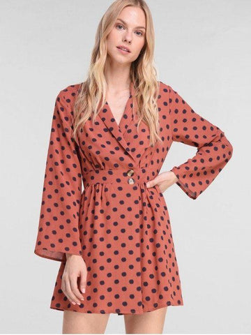 Polka Dot Long Sleeve Mini Dress