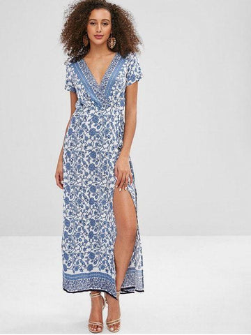 Porcelain Floral Print Wrap Maxi Tea Dress