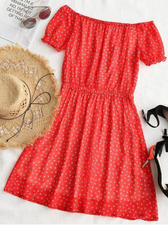 Printed Tassels Off Shoulder Mini Dress