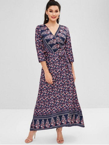 Printed V Neck Wrap Maxi Dress