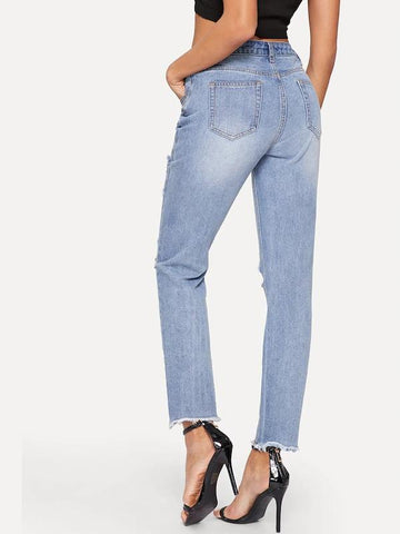 Ripped Detail Raw Hem Bleach Wash Jeans
