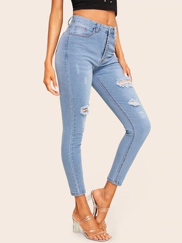 Ripped Faded Wash Stitch Detail Jeans