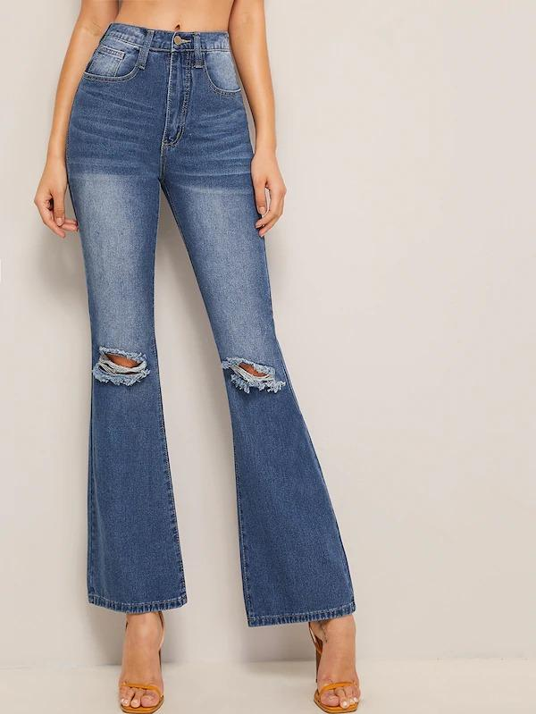 Ripped Flare Leg Jeans