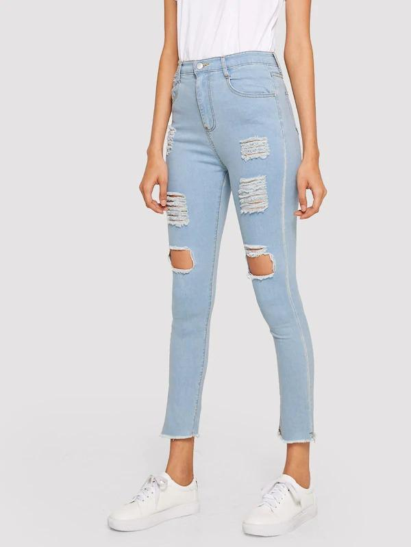 Ripped Raw Hem High Waist Jeans