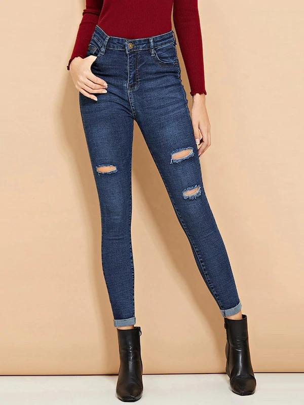 Ripped Roll-Up Skinny Jeans