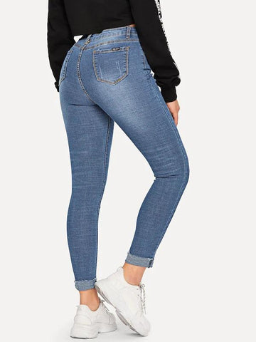 Hot Selling Roll Hem Ripped Skinny Ankle Jeans
