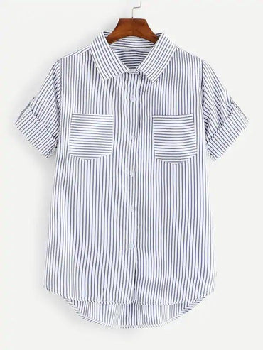 Roll Tab Sleeve Pocket Patch Striped Shirt