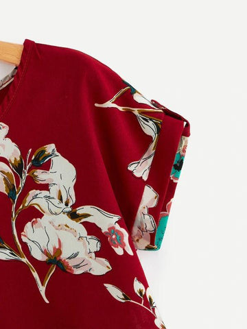 Roll Up Sleeve Curved Hem Floral Blouse