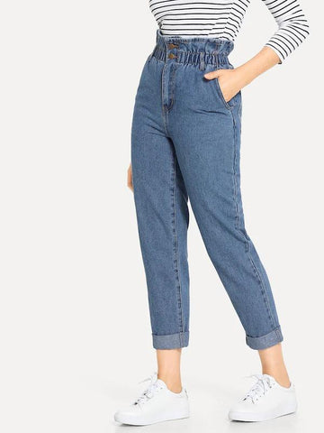Rolled Hem Frill High Waist Jeans