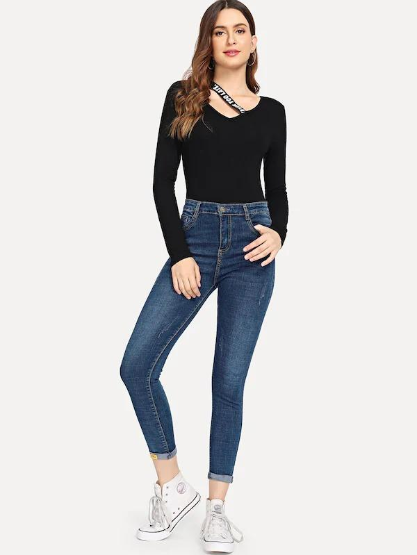 Hot Fashion Rolled Hem Jeans