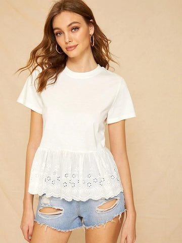 Ruffle Hem Eyelet Embroidered Tee