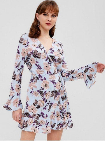 Ruffle Flower Wrap Dress