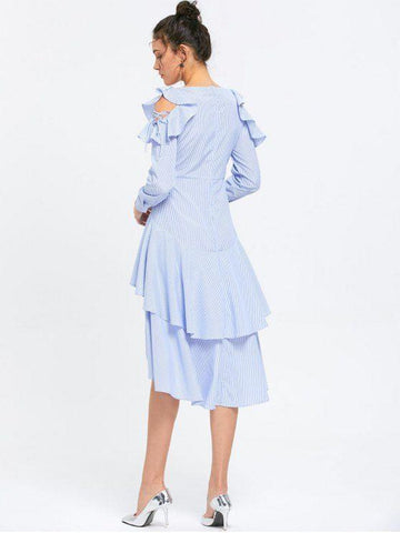 Ruffle Layered Striped Cold Shoulder Dress