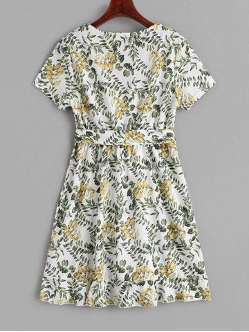 Ruffled Print Belted Surplice Dress.
