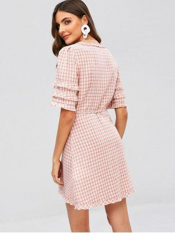 Ruffles Gingham Wrap Dress