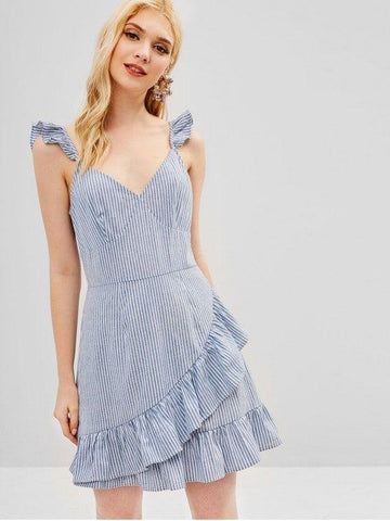 Ruffles Striped A Line Dress