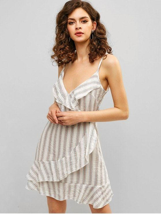 Ruffles Stripes Surplice Cami Dress