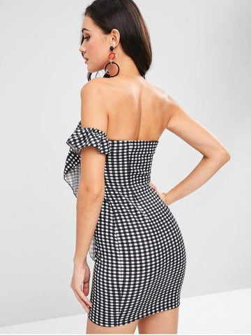 Ruffles Trim Mini Bodycon Gingham Dress