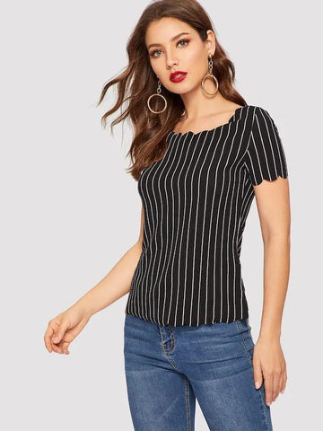 Scallop Trim Striped Top