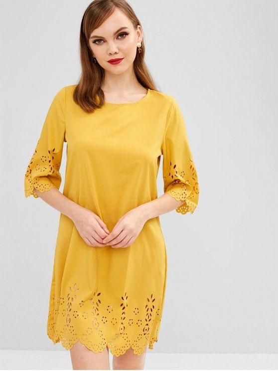 Scalloped Laser Cut Casual Dress