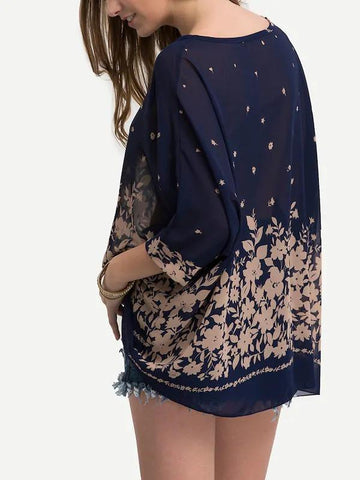 Semi-Sheer Batwing Sleeve Flower Blouse
