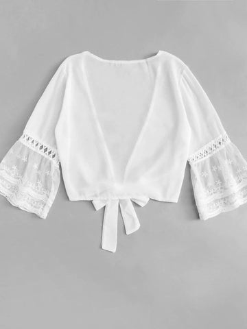 Sheer Mesh Sleeve Knot Plunge Top