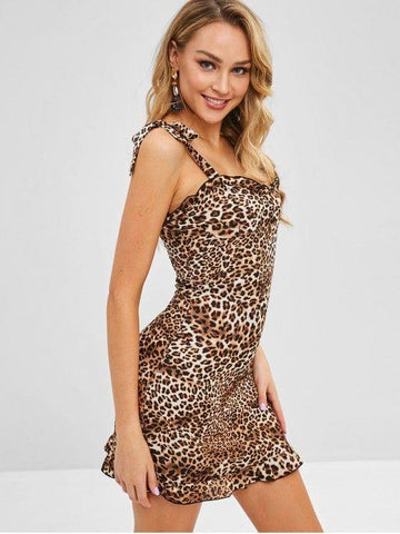Shirred Tie Shoulder Leopard Dress