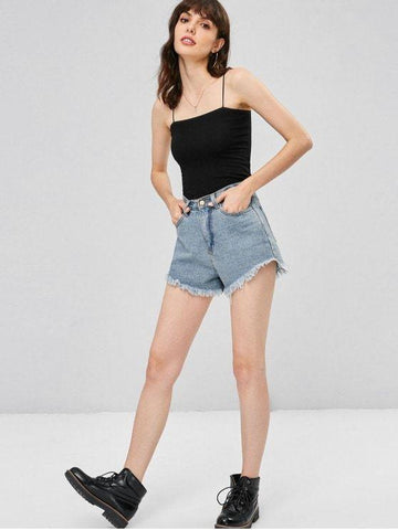Spaghetti Strap Skinny Ribbed Cropped Cami Top