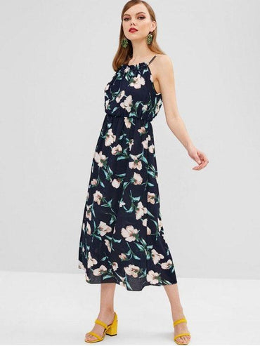 Sleeveless Tied Floral Maxi Dress