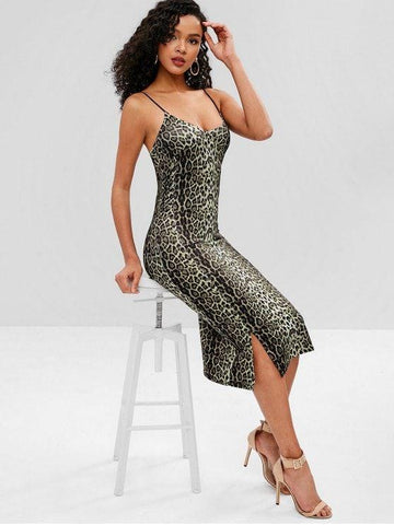 Slit Leopard Cami Dress