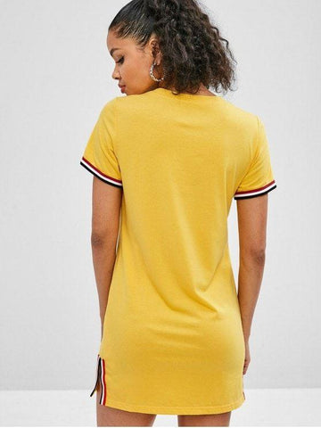 Slit Striped Trim Tee Dress