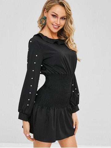 Smocked Beading Faux Pearl Short Dress