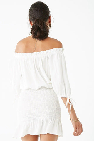 Smocked Off-the-Shoulder Mini Dress