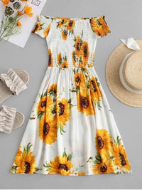 Smocked Sunflower Off Shoulder Dress