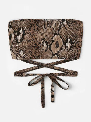 Snake Print Criss Cross Knot Tube Top