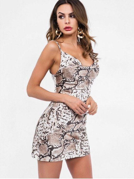 Snakeskin Print Mini Cami Dress