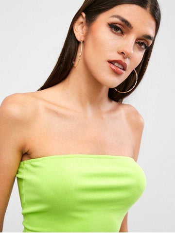 Strapless Solid Plain Bandeau Top