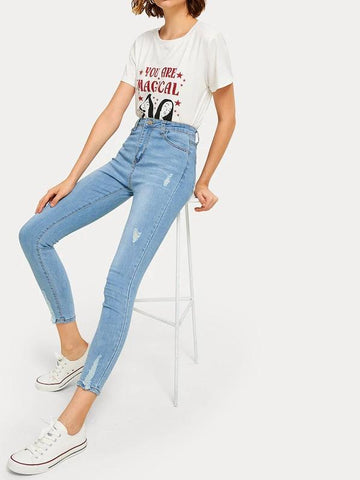 Solid Ripped Crop Jeans