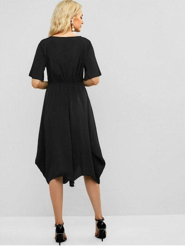 Solid Casual Elastic Waist Midi Dress