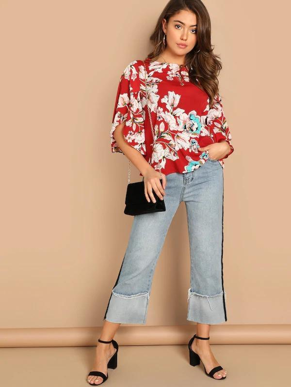 Split Butterfly Sleeve Floral Top