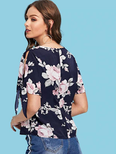 Split Knot Sleeve Floral Print Top