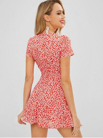 Square Collar Tiny Floral Dress
