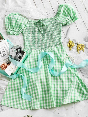 Square Smocked Plaid Mini Dress