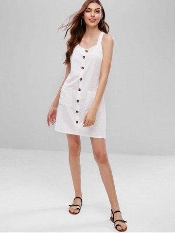 Straps Buttoned Pockets A Line Dress