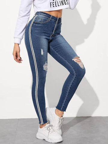 Stripe Side Ripped Jeggings