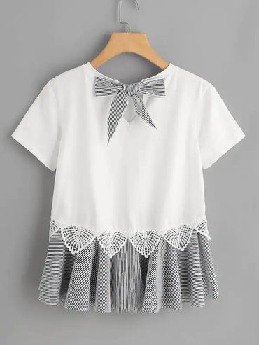 Striped Bow And Ruffle Hem Mixed Media Tee